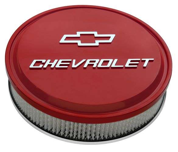 14 Air Cleaner Kit Aluminum Red Raised Chevy and Bowtie Emblems